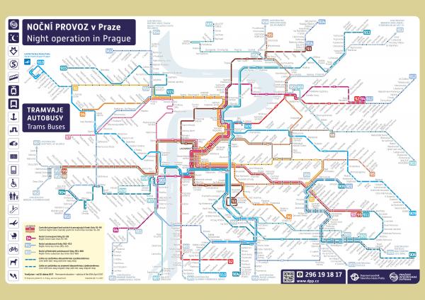Актуальная схема движения ночного общественного транспорта Праги